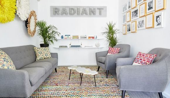 Radiant coworking space lounge