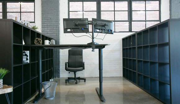 Moving desk with chair high