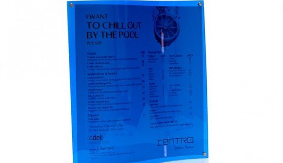 Blue pool menu
