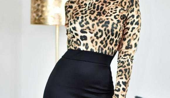 Black leopard print contrast bodycon midi dress