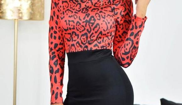 Black red leopard print contrast bodycon midi dress