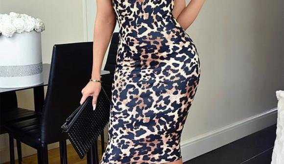 Slinky leopard print bodycon midi dress 2