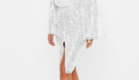White silver sequinned midi dress 1